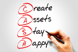 Create Assets Stay Happy (CASH) , business concept acronym